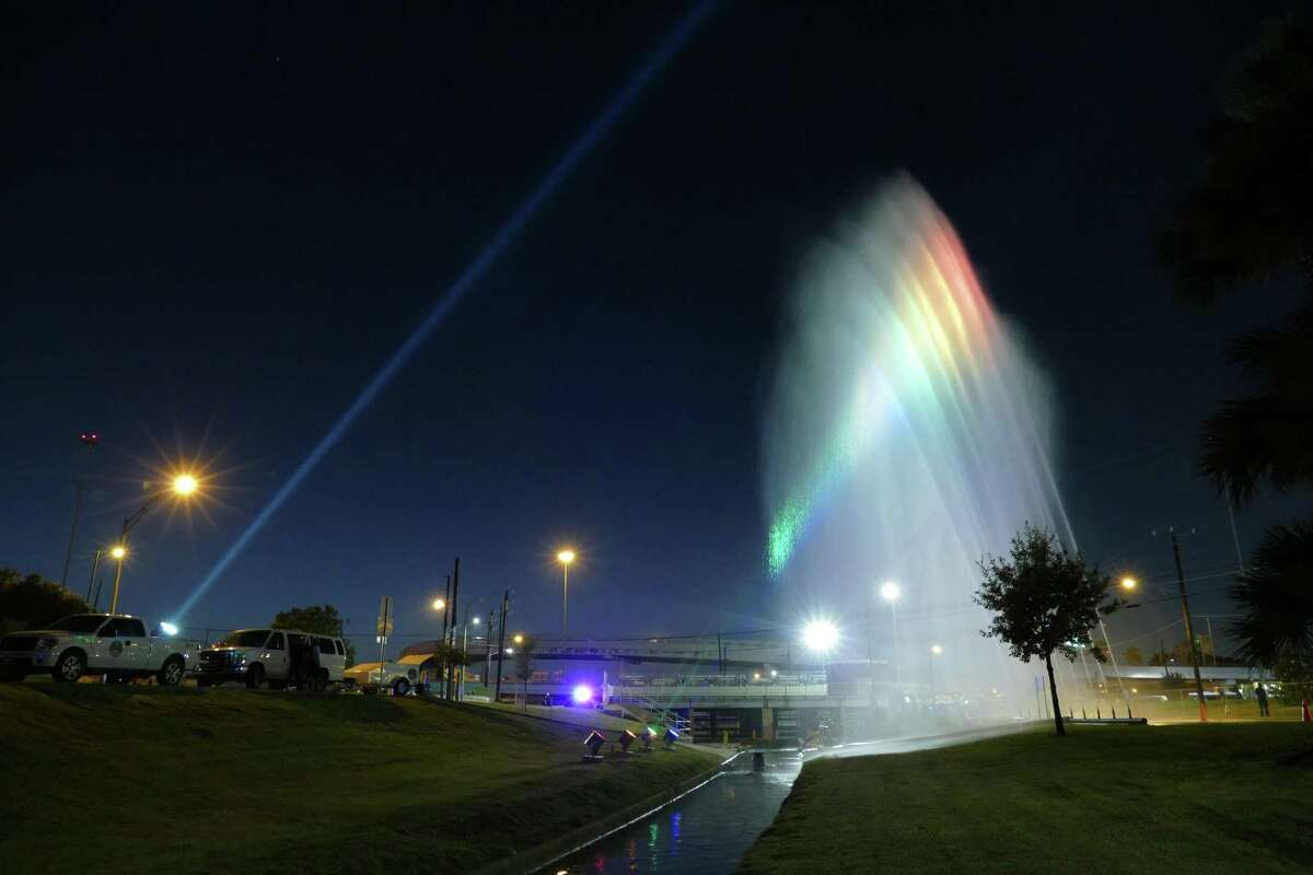 Fountains of water are lit as they spray at San Pedro Creek near Fox Tech during during the kick-off celebration for the San Pedro Creek Improvements Project at Fox Tech High School on Sept. 8, 2016. The project's first phase starts at the tunnel inlet near Fox Tech and goes to Cesar Chavez Boulevard and will be completed by May 2018 for San Antonio's tricentennial.