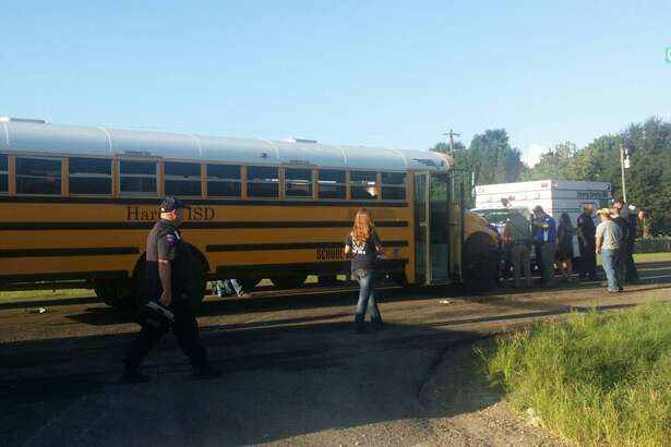 No students were injured when a bus carrying Harden ISD students collided with a van Friday morning, Sept. 9, 2016 in Liberty County.