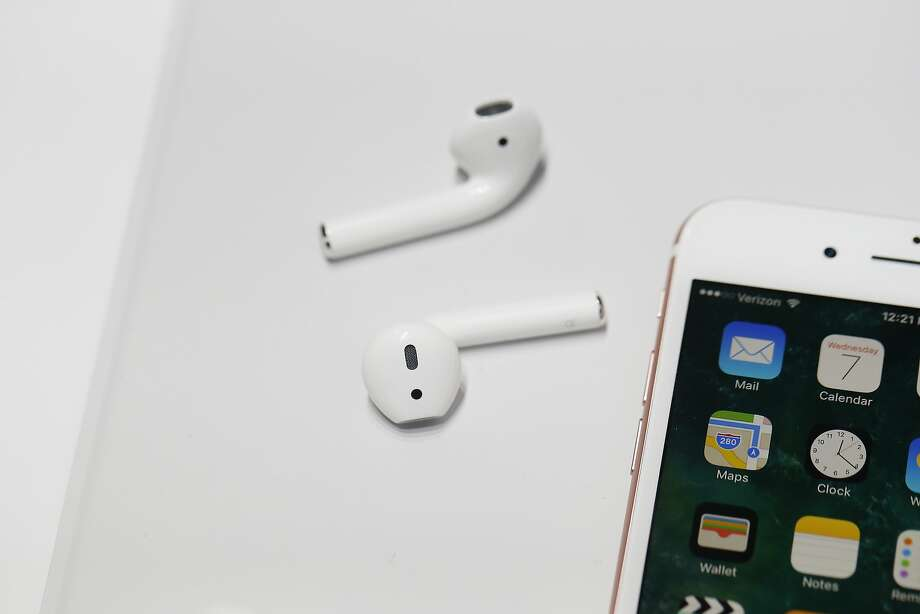 SAN FRANCISCO, CA - SEPTEMBER 07: A pair of the new Apple AirPods are seen during a launch event on September 7, 2016 in San Francisco, California. Apple Inc. unveiled the latest iterations of its smart phone, the iPhone 7 and 7 Plus, the Apple Watch Series 2, as well as AirPods, the tech giant's first wireless headphones. (Photo by Stephen Lam/Getty Images) Photo: Stephen Lam, Getty Images