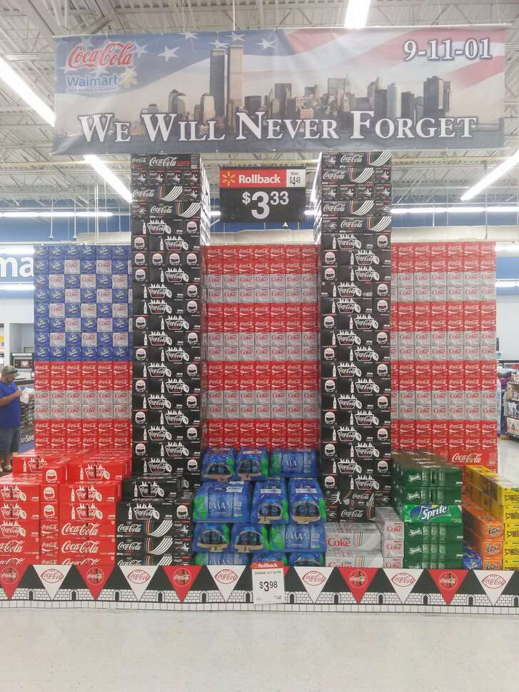 This image of a 9/11-inspired Coke display in a Florida Walmart has gone viral. The display was taken down.