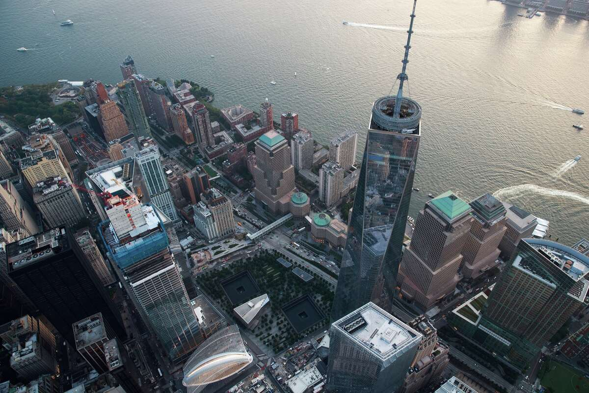 An aerial view One World Trade Center in Lower Manhattan, September 8, 2016 in New York City. New York City is preparing to mark the 15th anniversary of the September 11 terrorist attacks. (Photo by Drew Angerer/Getty Images)