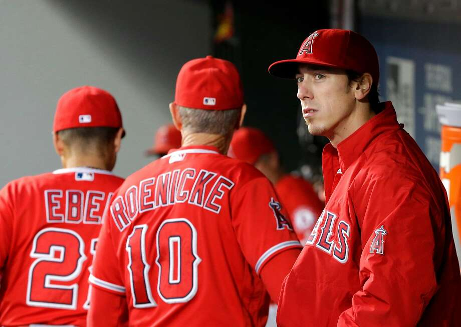 Los Angeles Angels starting pitcher Tim Lincecum stands in the dugout after being pulled from a baseball game against the Seattle Mariners, Friday, Aug. 5, 2016, in Seattle. (AP Photo/Ted S. Warren) Photo: Ted S. Warren, Associated Press