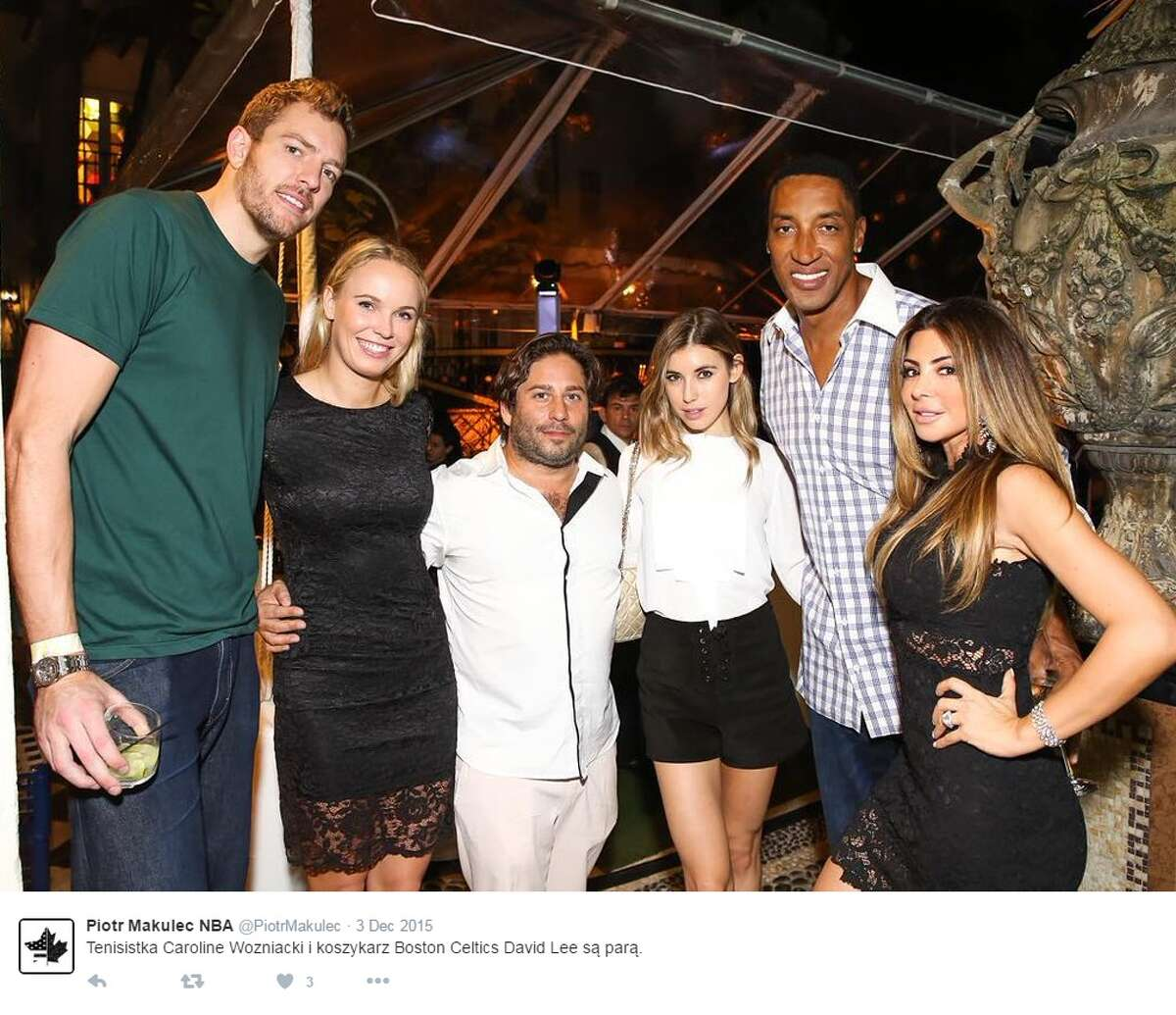 Twitter accounts shared a photo taken at the Art Basel in Miami last winter showing Wozniacki and Lee beside Scottie Pippen and his wife Larsa.