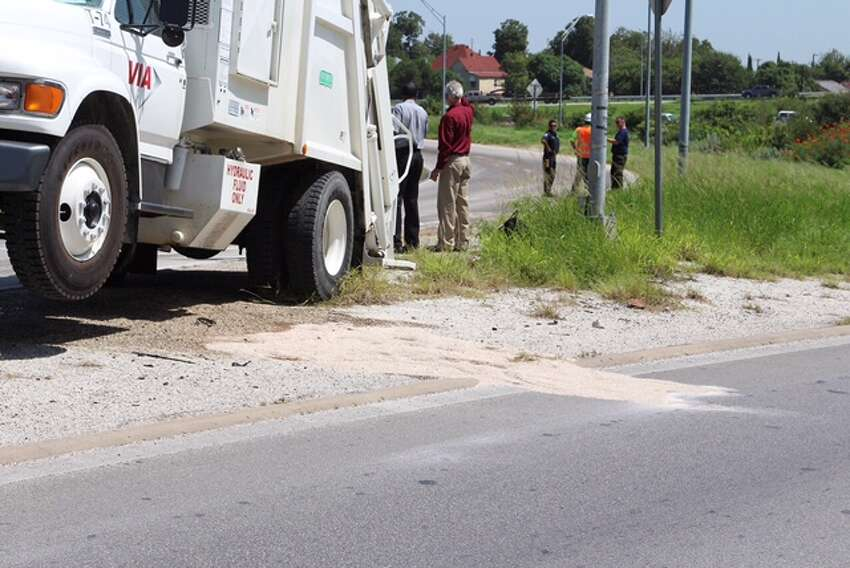 The on-ramp to Highway 90 westbound was closed down Sept. 9, 2016 following a fuel spill from a garbage truck that caused the truck to catch fire.
