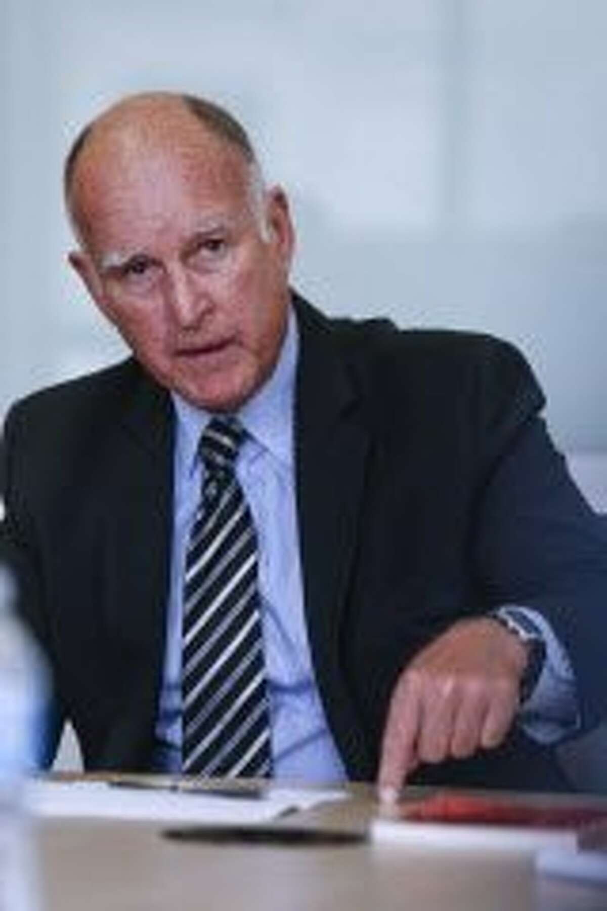 Gov. Jerry Brown speaks to the SF Chronicle Editorial Board about Proposition 57, which would change sentencing guidelines, on Friday, Sept. 9, 2016 in San Francisco, Calif.