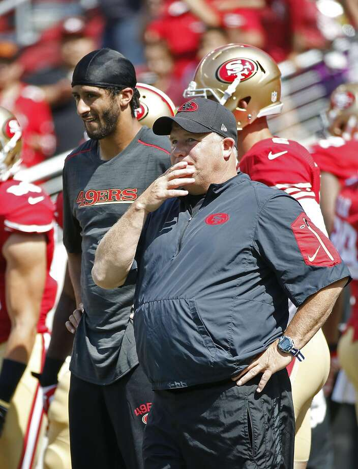 Chip Kelly and Colin Kaepernick during the 49ers' preseason opener in August. Photo: Tony Avelar, Associated Press