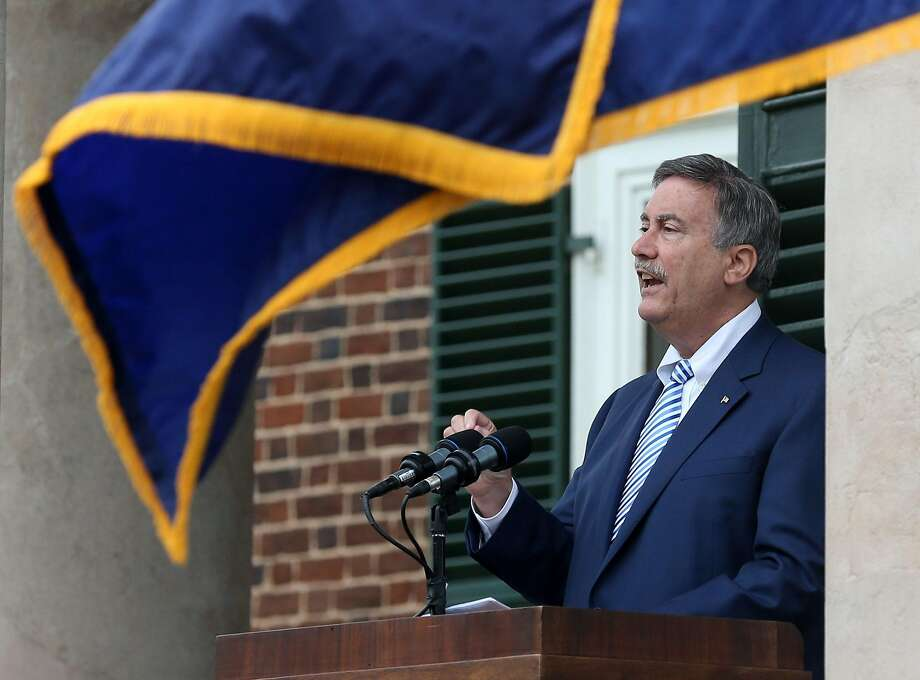 Larry Sabato of the University of Virginia Center for Politics, is the keynote speaker during the 2016 naturalization ceremony on Monday, July 4, 2016, at Monticello in Charlottesville, Va. Sabato has handicapped California House races. Photo: Andrew Shurtleff, Associated Press
