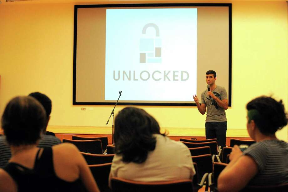 "John Track of Stamford participates in ""Unlocked"", a quarterly storytelling series in Stamford on Wednesday, Sept 7, 2016. This week theme was: ""Back In My Day"". Photo: Matthew Brown / Hearst Connecticut Media / Stamford Advocate"