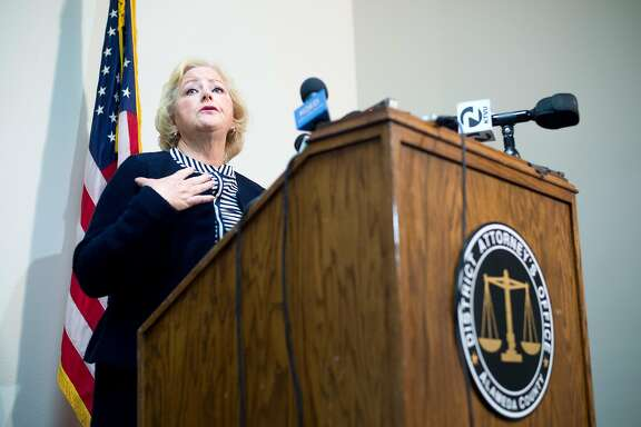 Alameda County District Attorney Nancy O�Malley announces plans to charge seven current or former police officers for crimes related to a sexually exploited teenager who goes by Celeste Guap on Friday, Sept. 9, 2016, in Oakland, Calif.