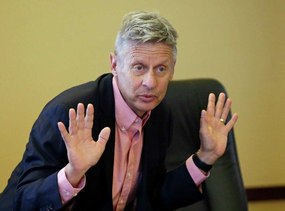 Libertarian presidential candidate Gary Johnson speaks with legislators at the Utah State Capitol in Salt Lake City. A reader says he is so frustrated with the Democratic and Republican nominees that he is going to vote Libertarian this election. Photo: Rick Bowmer /Associated Press / Copyright 2016 The Associated Press. All rights reserved. This material may not be published, broadcast, rewritten or redistribu