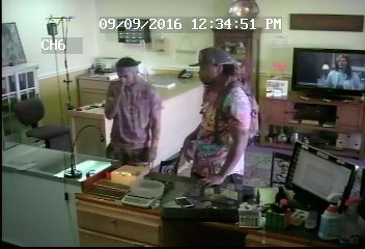 A photograph of the two men suspected of robbing the Gold Rush metal exchange store on Connecticut Avenue on Friday morning.