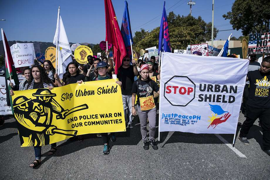 Demonstrators march on Bernal Avenue against Urban Shield 2016 outside Alameda County Fairgrounds in Pleasanton, Calif. on Friday, Sept. 9, 2016. Photo: Stephen Lam, Special To The Chronicle