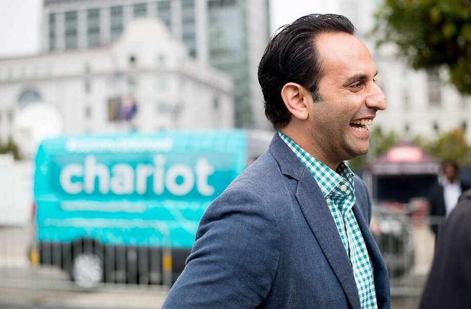 Chariot CEO Ali Vahabzadeh speaks with reporters at Ford GoBike's launch event shortly after Ford Smart Mobility announced it was acquiring his company on Friday, Sept. 9, 2016, in San Francisco. Photo: Noah Berger, Special To The Chronicle