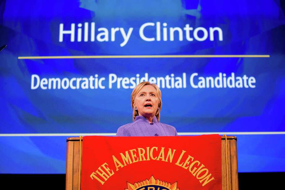 Hillary Clinton addresses the American Legions national convention in Cincinnati, Aug. 31. Many Americans say they can't vote for her because she is crooked, corrupt and lies. Compared to who? That's the most important question in this election. Photo: Sam Hodgson /New York Times / NYTNS