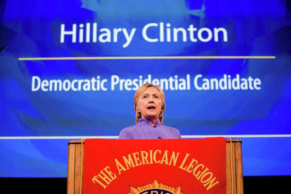 Hillary Clinton addresses the American Legions national convention in Cincinnati, Aug. 31. Many Americans say they can't vote for her because she is crooked, corrupt and lies. Compared to who? That's the most important question in this election.