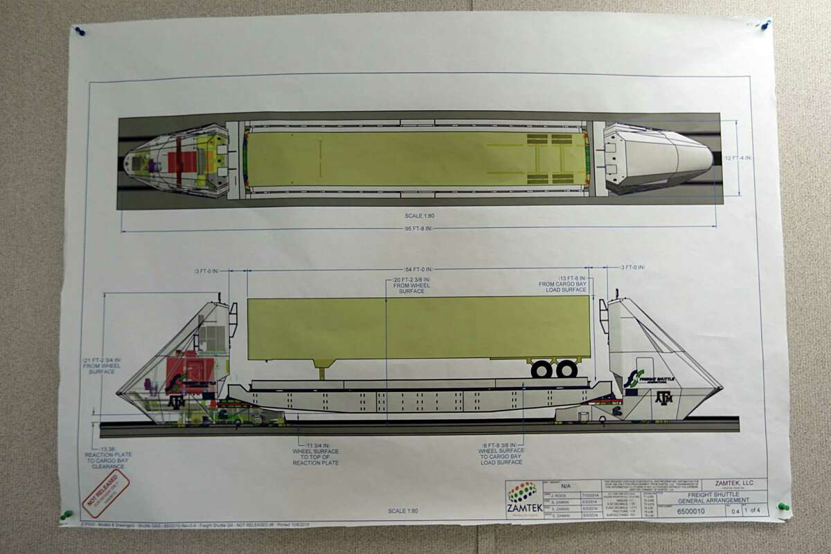 A shuttle blueprint at Freight Shuttle International, the shuttle is an electronic shuttle system that pushes cargo containers, which could revolutionize freight transport and has significant interest in the Houston area Sept. 1, 2016, in Bryan.