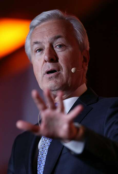 SAN FRANCISCO, CA - MAY 17:  Wells Fargo CEO John Stumpf speaks at the Bay Area Council Outlook Conference on May 17, 2016 in San Francisco, California. In January, the investment research company Morningstar named as its 2015 CEO of the year Stumpf, who beat out two other nominees Jeff Bezos of Amazon and Jeff Immelt of General Electric.  (Photo by Justin Sullivan/Getty Images) Photo: Justin Sullivan, Getty Images
