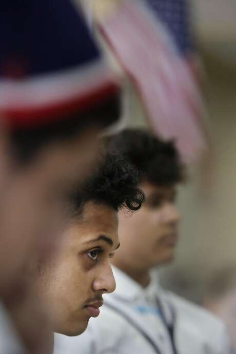 Aseel Fara (center), 16, listens as Wallenberg High students speak about their continuing experiences with Islamophobia since 9/11. Photo: Lea Suzuki, The Chronicle