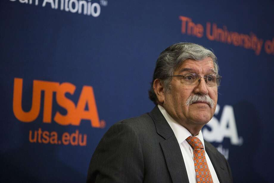 University President Ricardo Romo talks at the H-E-B University Center at the University of Texas at San Antonio in San Antonio, Texas on September 7, 2016. Photo: Carolyn Van Houten