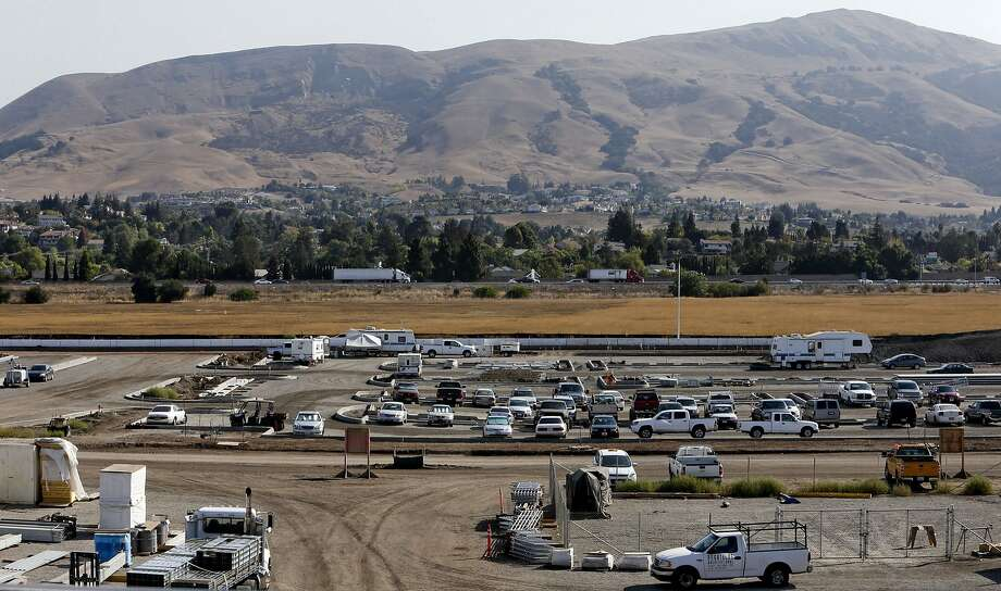 Looking east towards the hills above Fremont, Calif. from the construction site of the Warm Springs BART station, as seen on Friday Sept. 19, 2014. Photo: Michael Macor, The Chronicle