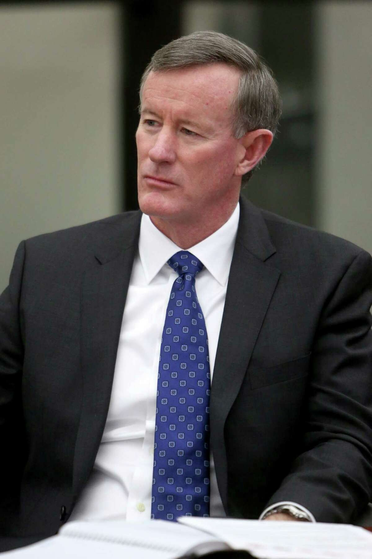 William McRaven, University of Texas, a chancellor of Texas' public university systems meets with the Chronicle's editorial board at the Houston Chronicle Monday, Jan. 12, 2015, in Houston, Texas. ( Gary Coronado / Houston Chronicle )