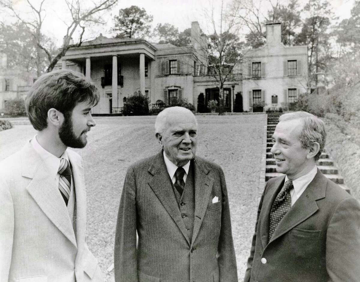 Architect John Staub, center, was celebrated in a 1979 book by architect and author Howard Barnstone, right. David Courtwright, left, was a research associate on the book.