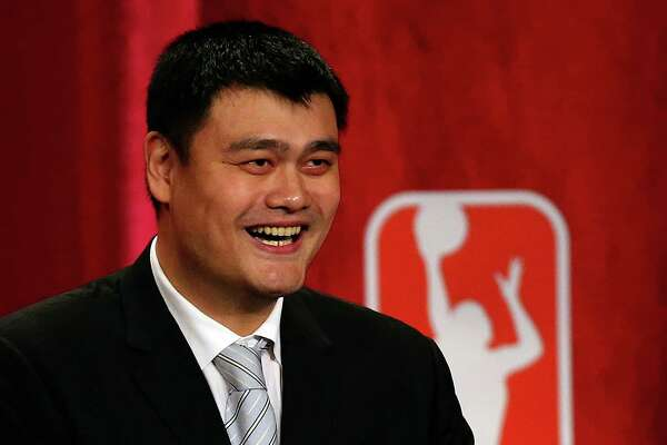 SPRINGFIELD, MA - SEPTEMBER 09:  Yao Ming reacts during the 2016 Basketball Hall of Fame Enshrinement Ceremony at Symphony Hall on September 9, 2016 in Springfield, Massachusetts.