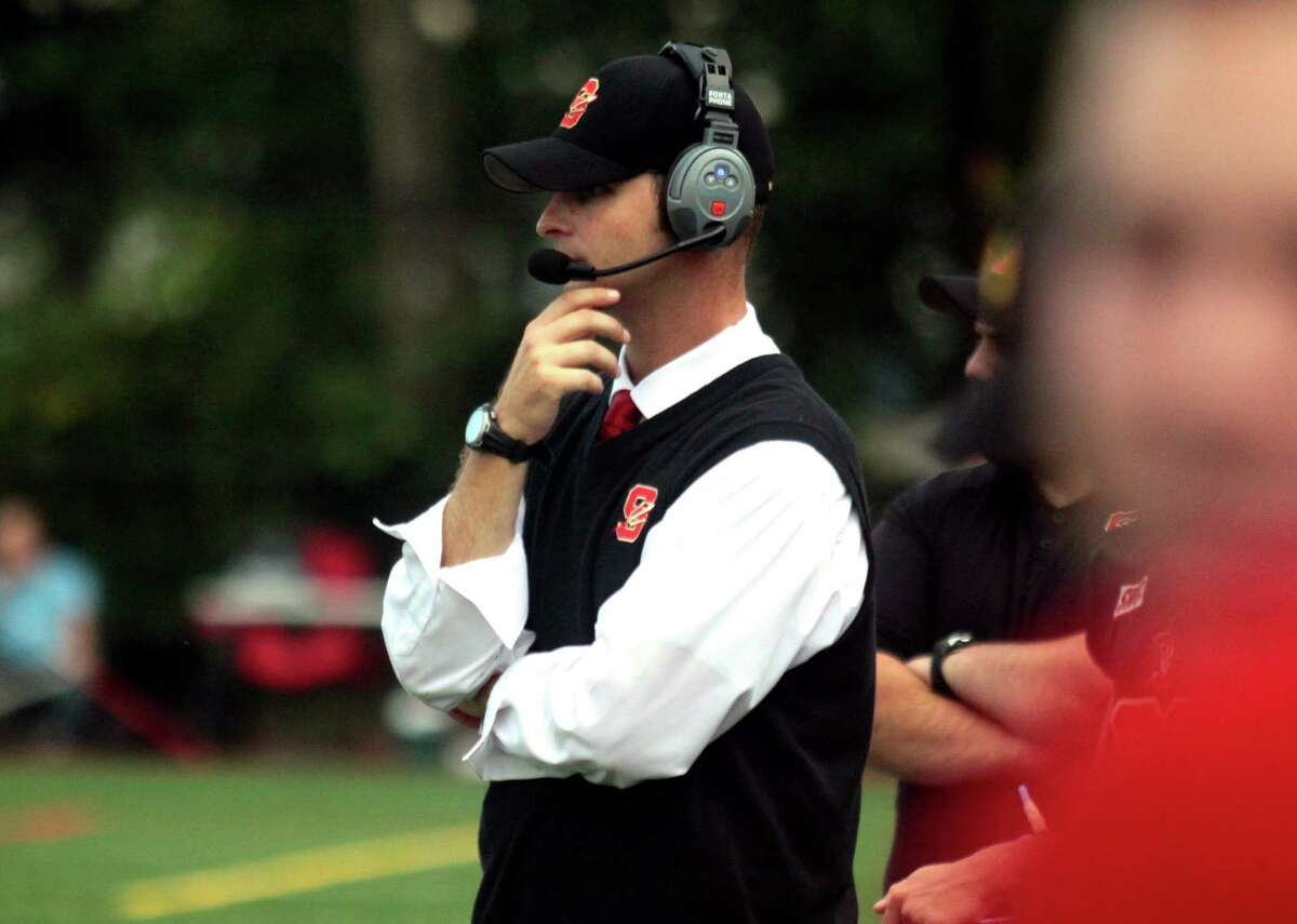 Stratford Head Coach T.J. Cavaliere during football action against Masuk in Stratford, Conn. on Friday Sept. 9, 2016.