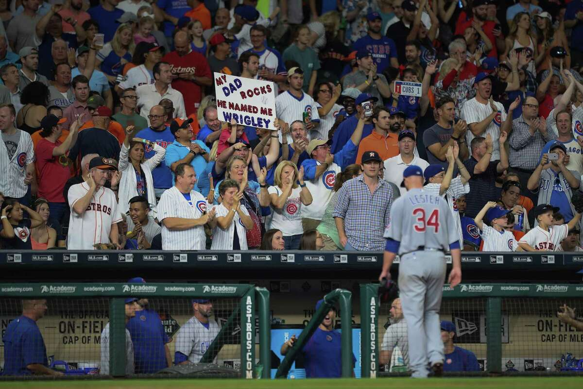 Sept. 9: Cubs 2, Astros 0 Chicago Cubs starting pitcher Jon Lester (34) receives cheers after pitching through the 7th inning of an MLB game at Minute Maid Park, Friday, Sept. 9, 2016 in Houston.