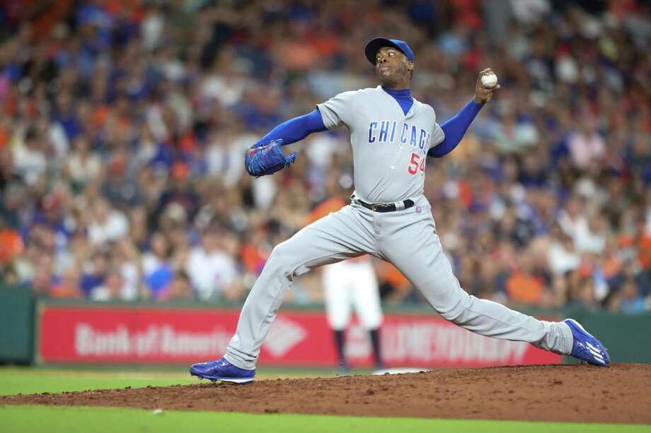 Chicago Cubs relief pitcher Aroldis Chapman (54) closes the 9th inning of an MLB game at Minute Maid Park, Friday, Sept. 9, 2016 in Houston. Photo: Steve Gonzales, Houston Chronicle / © 2016 Houston Chronicle