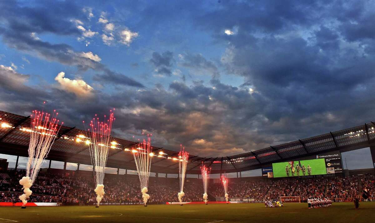 Fireworks erupt at the end of the national anthem before Sporting KC plays host to Houston on Friday, Sept. 9, 2016, at Children's Mercy Park in Kansas City, Kan.
