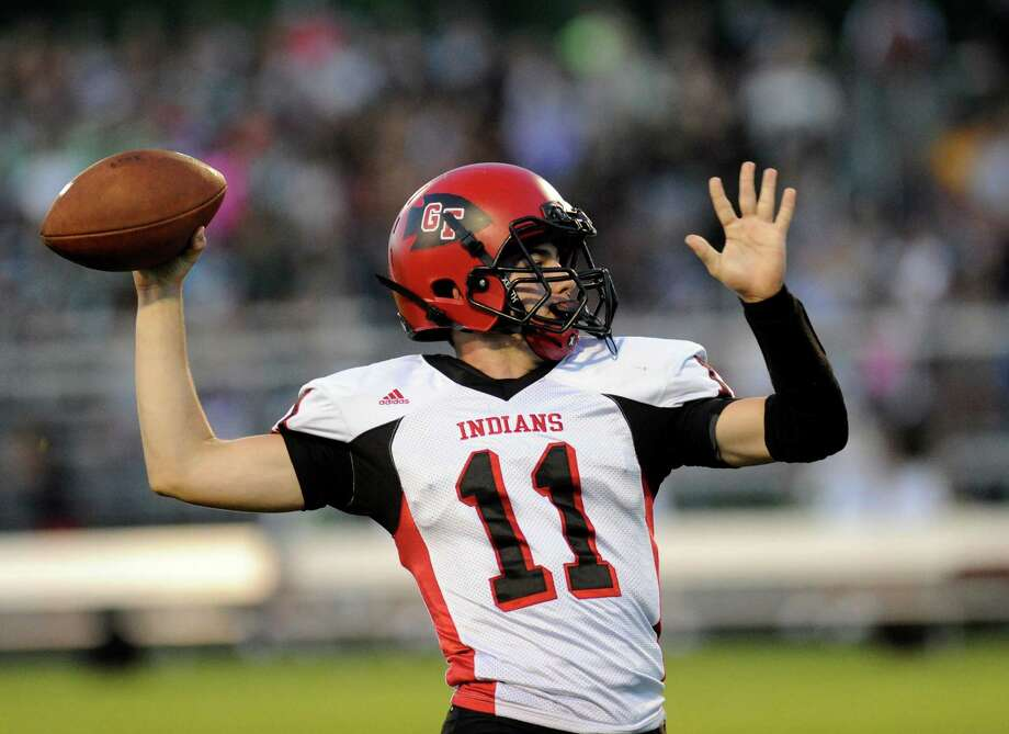 Glens Falls' quarterback Joseph Girard (11) throws a pass against Schalmont during their Class B high school football game in Rotterdam, N.Y., Friday, Sept. 9, 2016. (Hans Pennink / Special to the Times Union) ORG XMIT: HP101 Photo: Hans Pennink / 20037948A