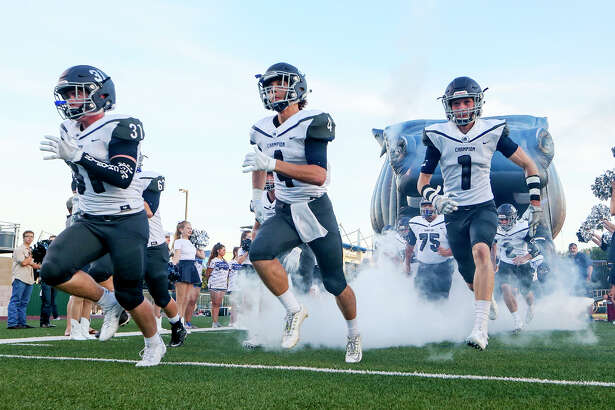 The Boerne Champion Chargers take the field prior to their game with Brandeis at Farris Stadium on Friday, Sept. 9, 2016.  MARVIN PFEIFFER/ mpfeiffer@express-news.net