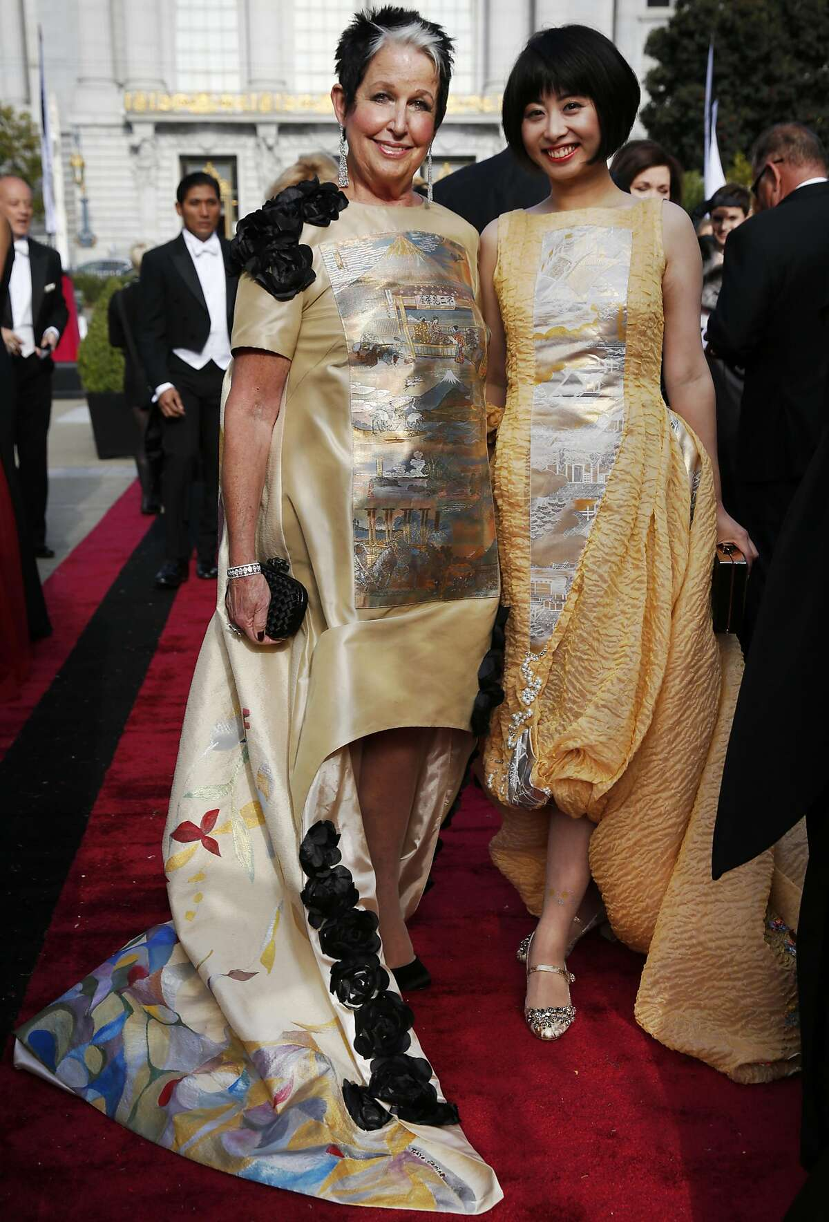 """Karen Kubin, left, pictured with Yuka """"Toyko Gamine"""" Uehara who designed both of their dresses at the Opera Ball, celebrating the opening night of the San Francisco Opera Sept. 9, 2016 in San Francisco, Calif."""