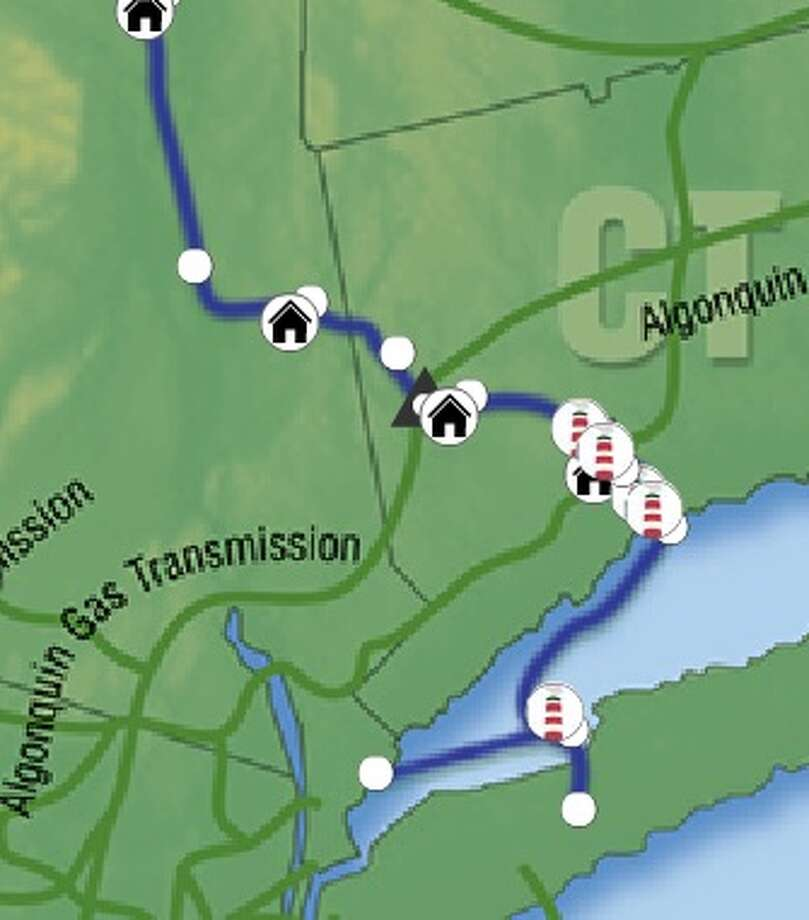 The blue line shows the route of the Iroquois pipeline. Photo: Iroquis