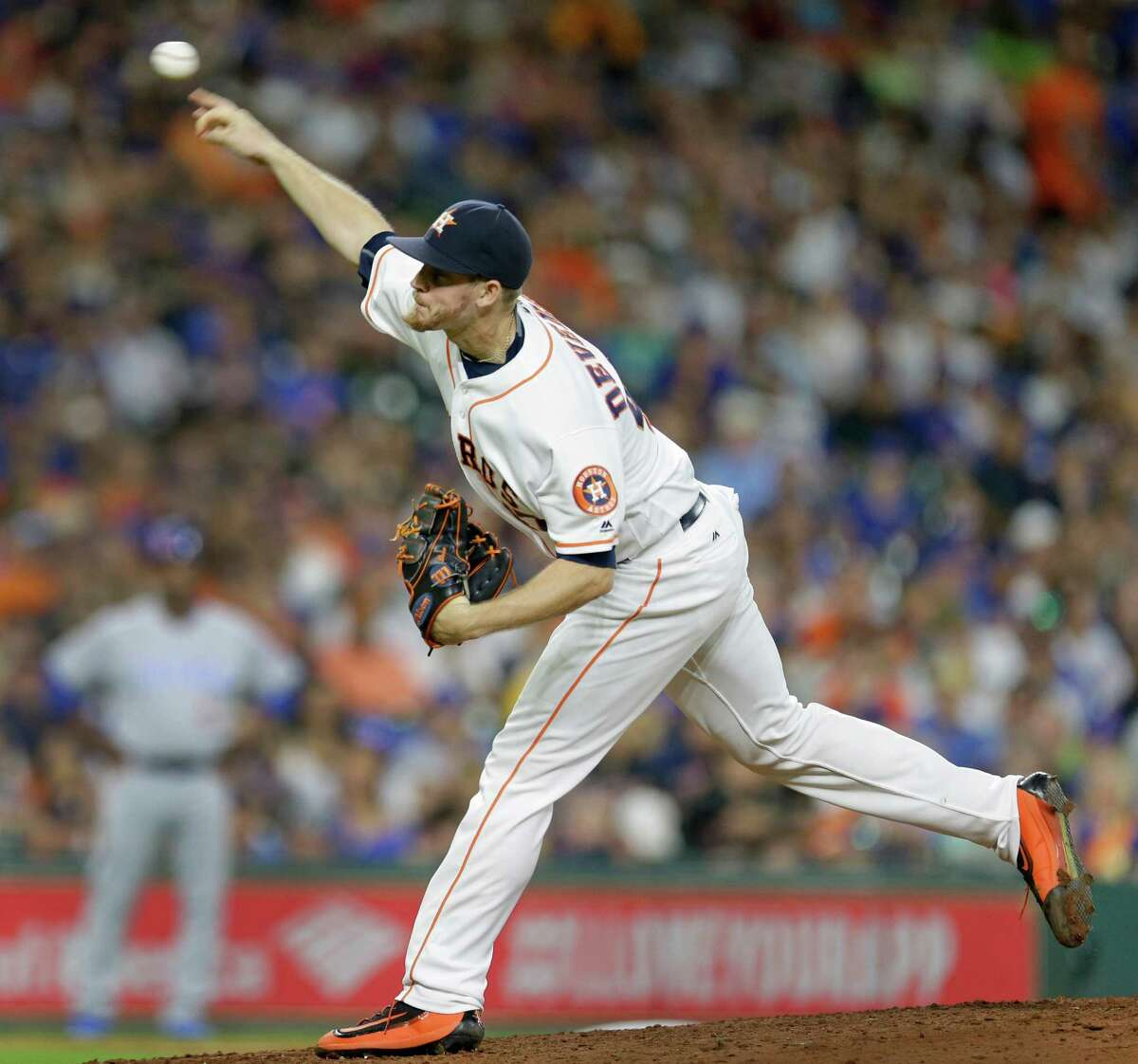 Houston Astros Chris Devenski pitches against the Chicago Cubs during the sixth inning at Minute Maid Park Saturday, Sept. 10, 2016, in Houston.