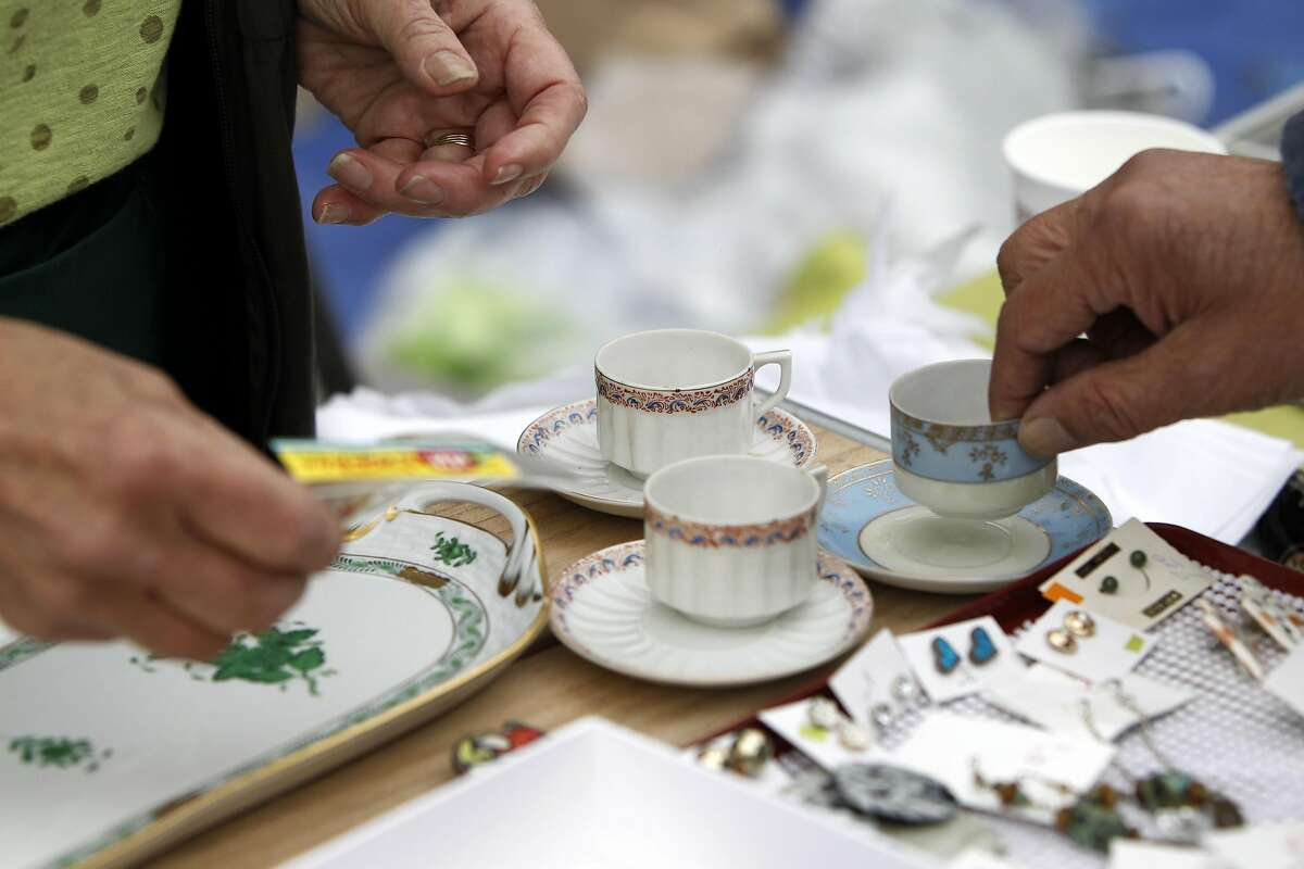 World War II era Occupied Japan teacups at the 19th annual Duboce Triangle Tag Sale at Duboce Park in San Francisco, California on Saturday, September 10, 2016.