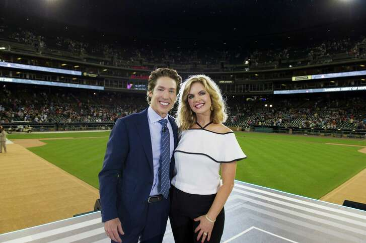 "Joel and Victoria Osteen at Comerica Park in Detroit for ""America's Night of Hope,"" which airs on the Hallmark Channel Sunday evening."