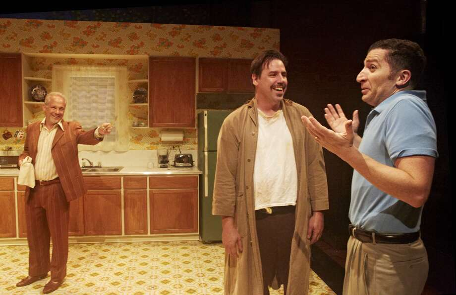 "Philip Lehl, Drake Simpson, Nick Farco in 4th Wall Theatre Company's ""True West."""