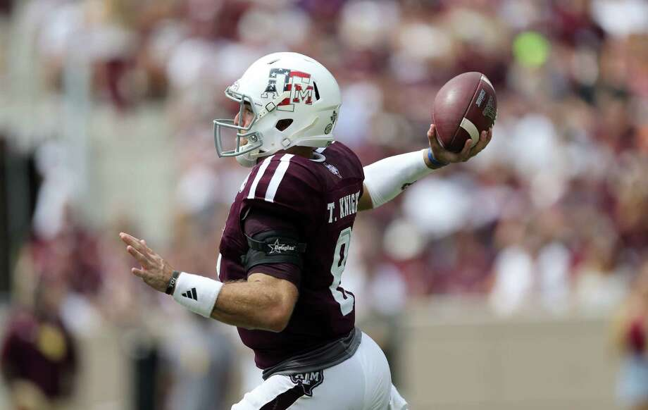 Texas A&M quarterback Trevor Knight (8) passes down field against Prairie View A&M during the first half of an NCAA college football game Saturday, Sept. 10, 2016, in College Station, Texas. (AP Photo/Sam Craft) Photo: Sam Craft, Associated Press / AP