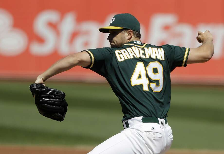 Oakland Athletics starting pitcher Kendall Graveman throws to the Seattle Mariners during the second inning of a baseball game, Saturday, Sept. 10, 2016, in Oakland, Calif. (AP Photo/Marcio Jose Sanchez) Photo: Marcio Jose Sanchez, Associated Press