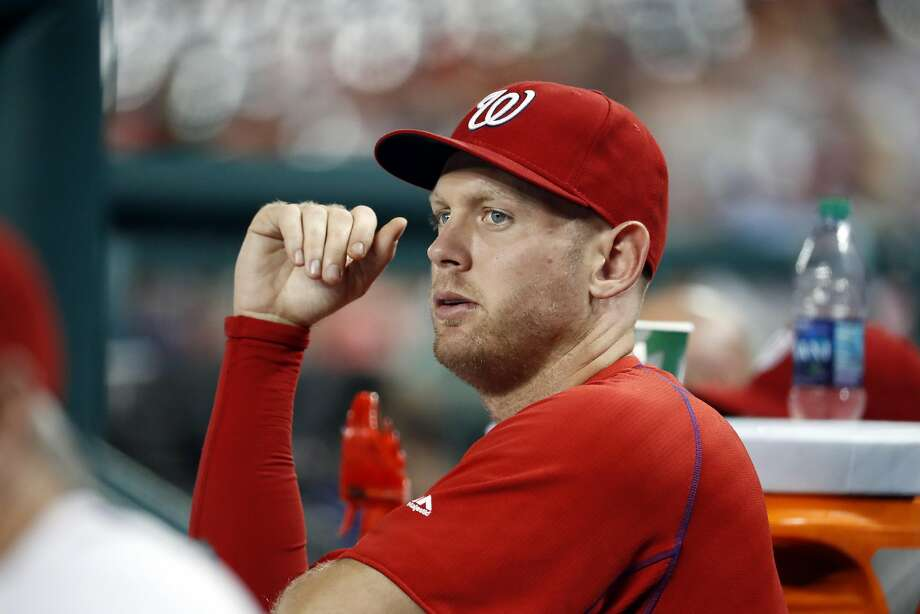 Washington Nationals starting pitcher Stephen Strasburg pauses in the dugout during a baseball game against the Philadelphia Phillies at Nationals Park, Thursday, Sept. 8, 2016, in Washington. Strasburg left Wednesday's game with an injury. The Phillies won 4-1. (AP Photo/Alex Brandon) Photo: Alex Brandon, Associated Press