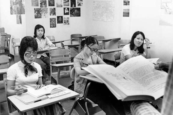 06/09/1976 - Vietnamese refugees in an English as a second language class at Houston Community College.