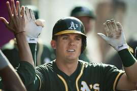 Oakland Athletics' Ryon Healy is welcomed into he dugout after hitting a solo home run off Los Angeles Angels' Ricky Nolasco during the third inning of a baseball game Thursday, Aug. 4, 2016, in Anaheim, Calif. The A's won 8-6 in 10 innings. (Kevin Sullivan/The Orange County Register via AP)