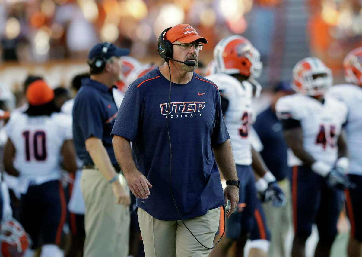 11. UTEP (1-3) - UTEP head coach Sean Kugler during the first half of a NCAA college football game against Texas, Saturday, Sept. 10, 2016, in Austin. (AP Photo/Eric Gay)