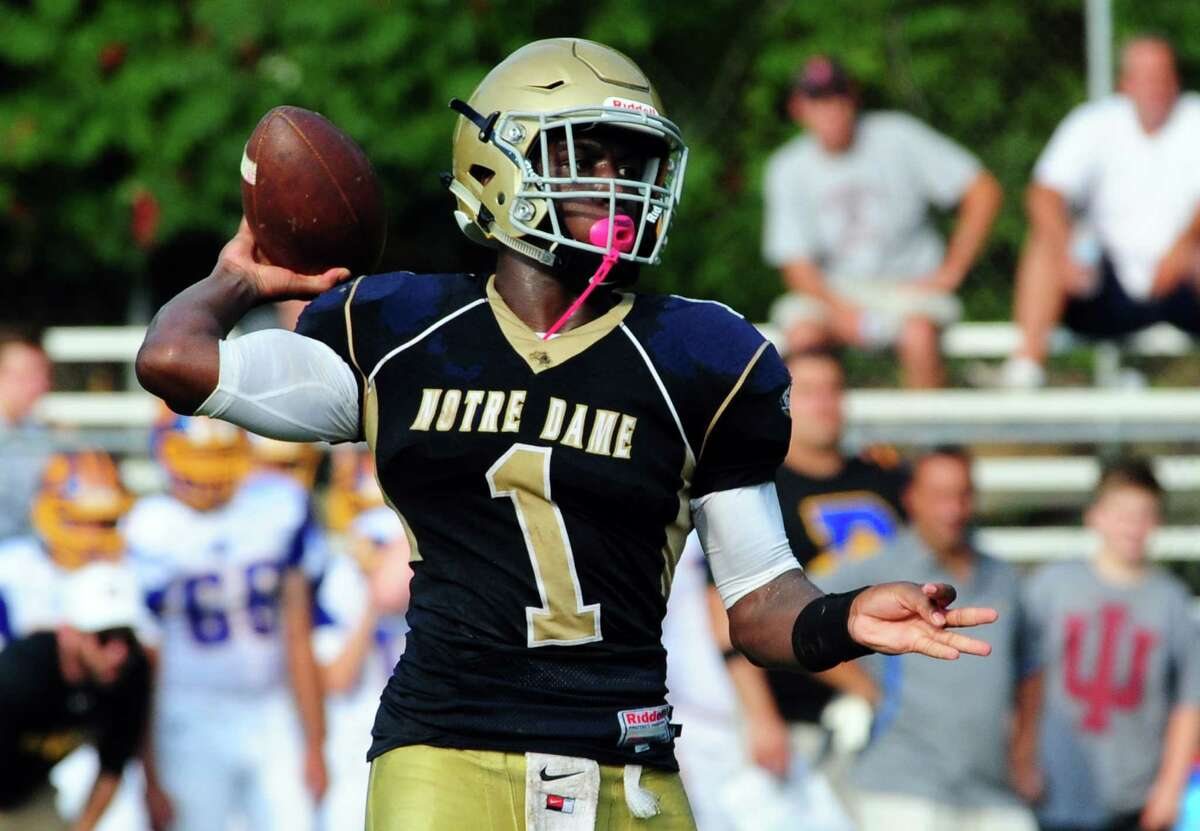Football action between Notre Dame of Fairfield and Brookfield in Fairfield, Conn. on Saturday Sept. 10, 2016.