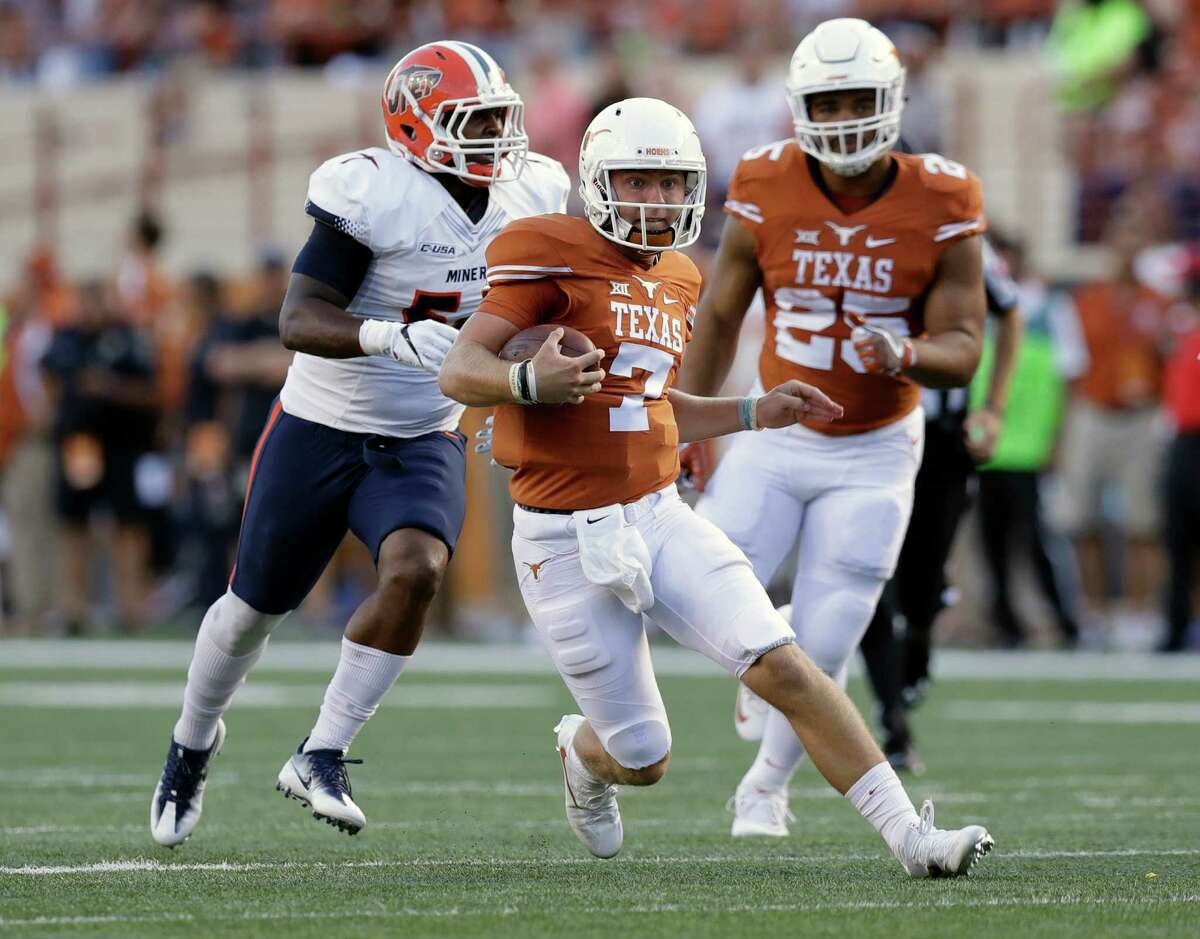 Sept. 10: Texas 41, UTEP 7 Shane Buechele completed 22 of 27 passes for 244 yards and four touchdowns, including a pair to Jerrod Heard in a dominant Longhorns victory. Record: 2-0