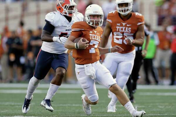 Texas quarterback Shane Buechele (7) runs against UTEP during the first half of a NCAA college football game, Saturday, Sept. 10, 2016, in Austin. (AP Photo/Eric Gay)