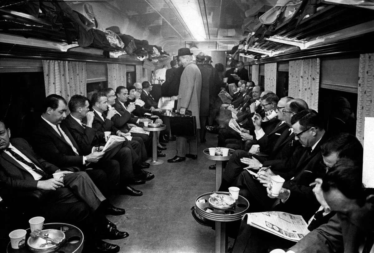 Passengers in the bar car on the New Haven line in 1968. (Barton Silverman/The New York Times)