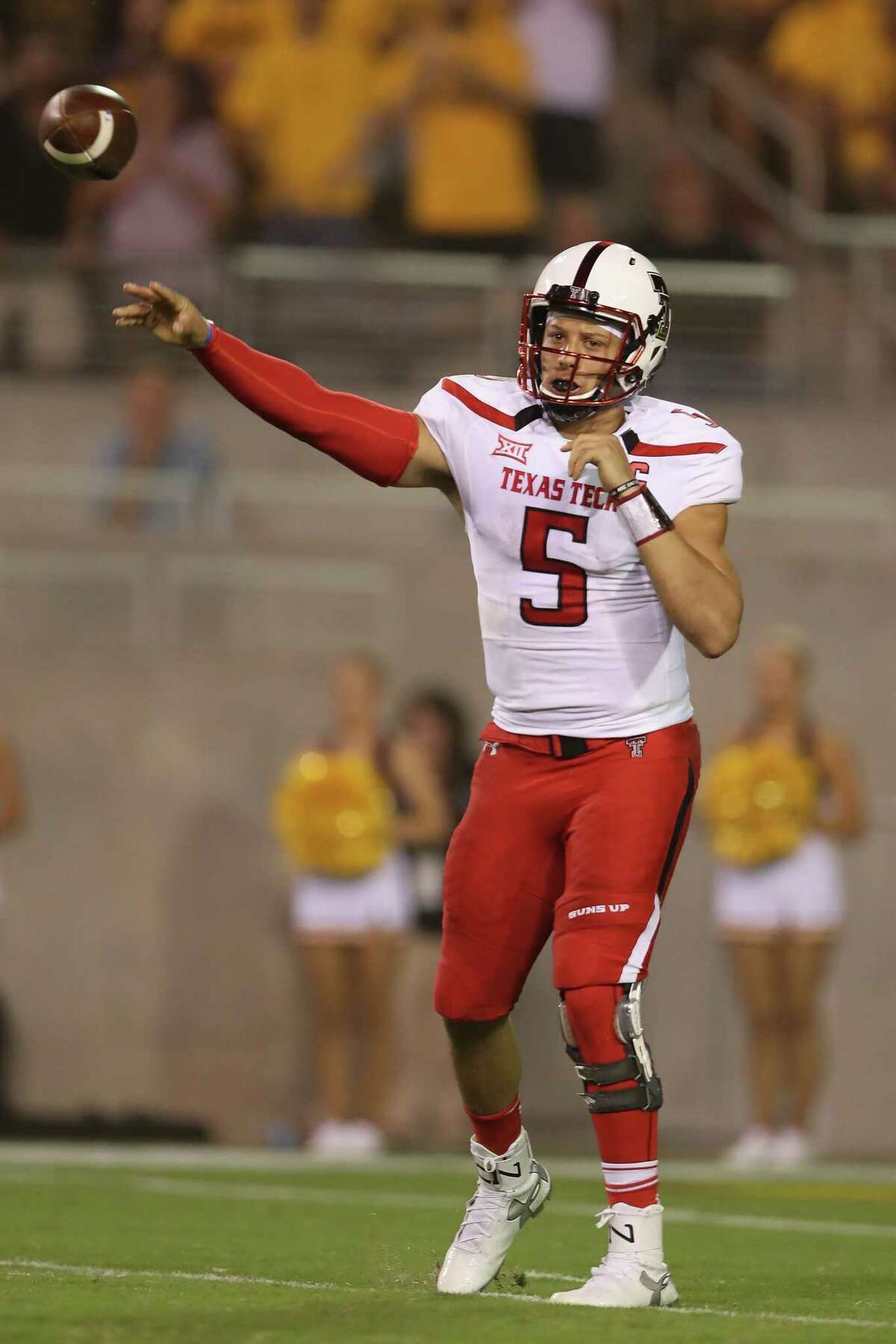 TEMPE, AZ - SEPTEMBER 10: Quarterback Patrick Mahomes II #5 of the Texas Tech Red Raiders throws a pass during the second half of the college football game against the Arizona State Sun Devils at Sun Devil Stadium on September 10, 2015 in Tempe, Arizona.
